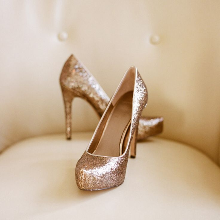 White and Gold Wedding Shoes. Sparkly Glitter Heels. Bride Shoes. Rose Gold Shoes