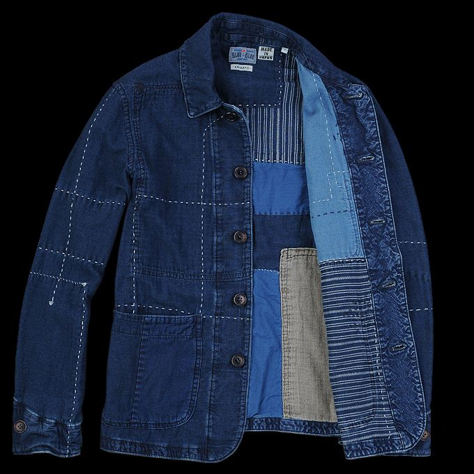 BLUE BLUE JAPAN Gauze Fabric Patchwork Coverall in Indigo