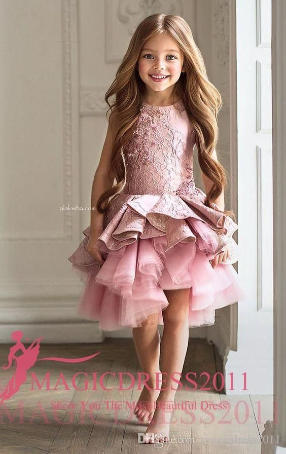 Custom Made Flower Girl Dresses for Wedding Pink Lace Princess TUtu Skirt Ruffled 2017 Ball Gown Jewel Vintage Child First Communion Dress Flowers Girl Pageant One Shoulder Online with 104.0/Piece on Magicdress2011's Store   DHgate.com