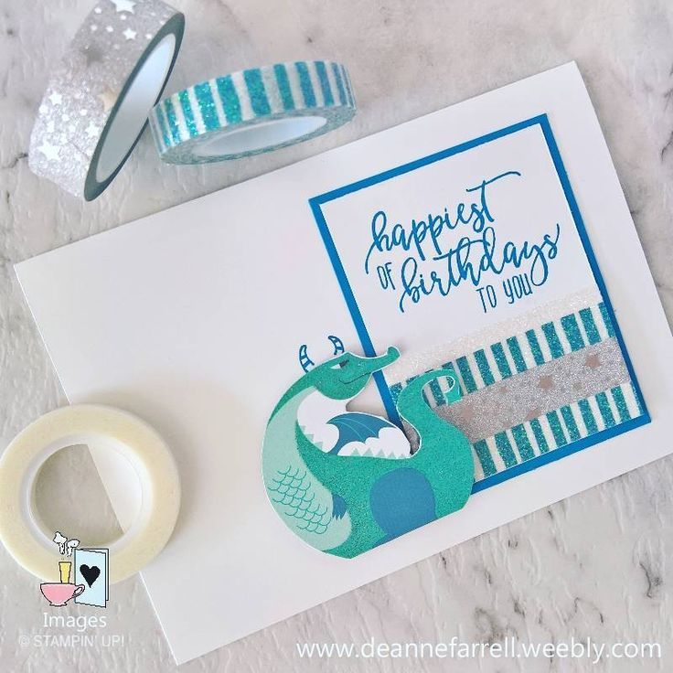 Nice & easy birthday card, for big or little boys. #dragons #boycard #handmade #stampinup #dlbcraft