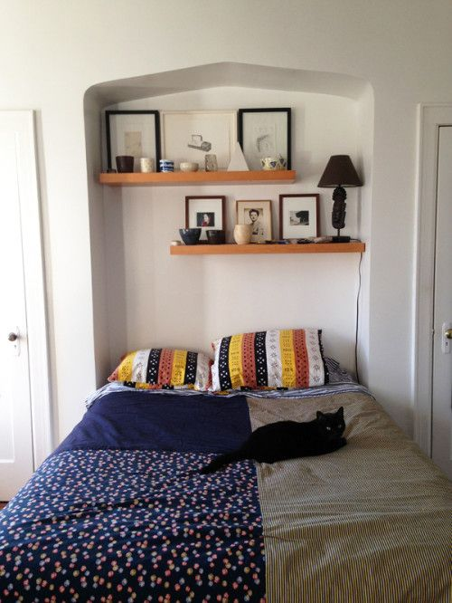 Bed in a nook via design sponge my ideal home for Bedroom ideas to boost intimacy