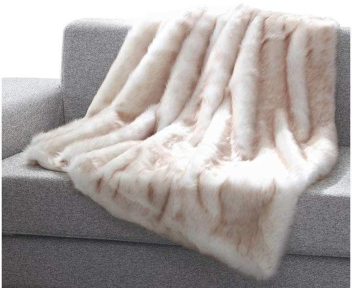 Mistana Thiele Luxury Tip Dye Faux Fur Throw White Faux Fur Blanket Fur Blanket Bed Faux Fur Blanket White faux fur throw blanket