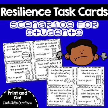 These tasks cards are perfect for building resilience in your classroom.  With 40 different scenarios over 10 pages, students can take turns role playing how they would handle a variety of stressful or upsetting situations.  Being in task card forms opens up a range of different teaching styles for you to chose from e.g.