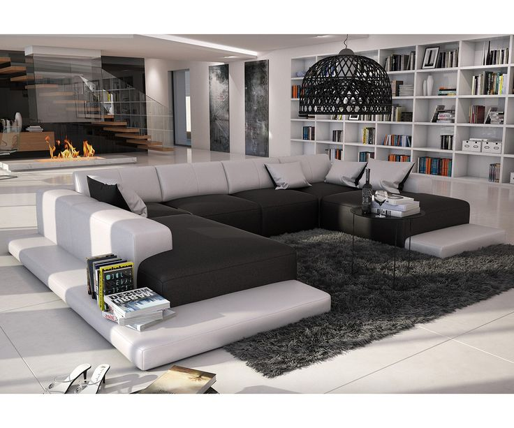 wohnlandschaft bethany 360x271 schwarz weiss ottomane links möbel, wohnzimmer
