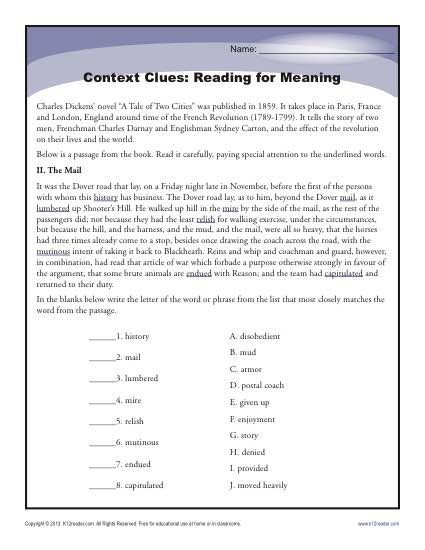 """A passage from """"A Tale of Two Cities"""" is the focus for this context clues worksheet."""