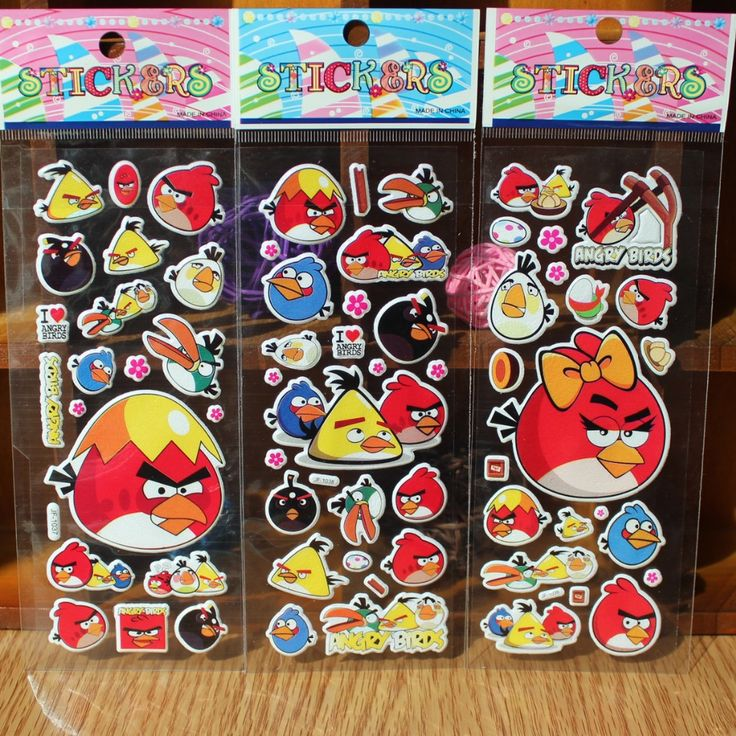 1 Pcs Cartoon animal stickers for kids rooms Home decor Diary Notebook Label Decoration toy Red birds 3D sticker In Stock - $0.17