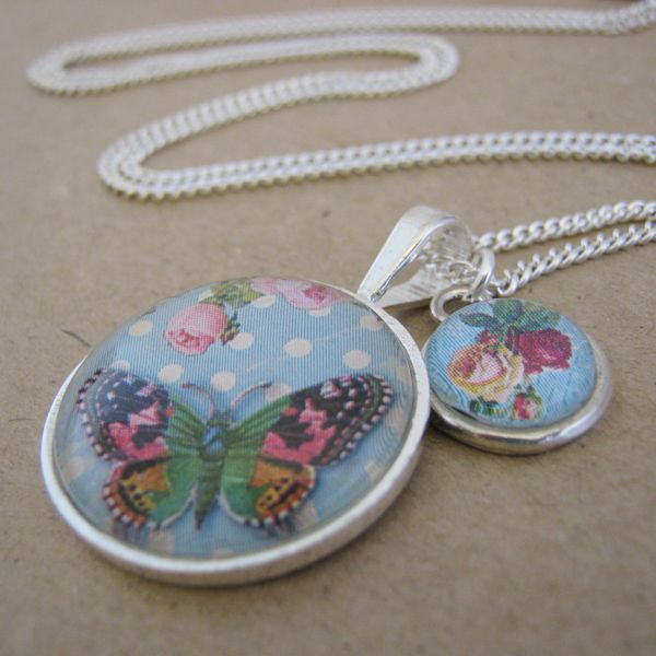 Shabby Chic Butterfly Double Pendant Necklace Set