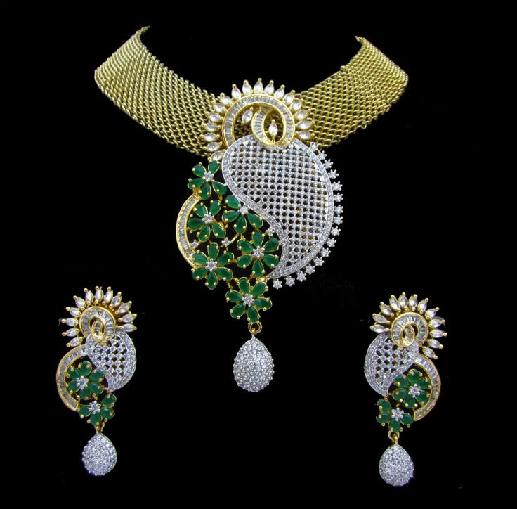 Indian CZ AD Gold & Silver Bollywood Famous Bridal Necklace Set Swam Jewelry 882
