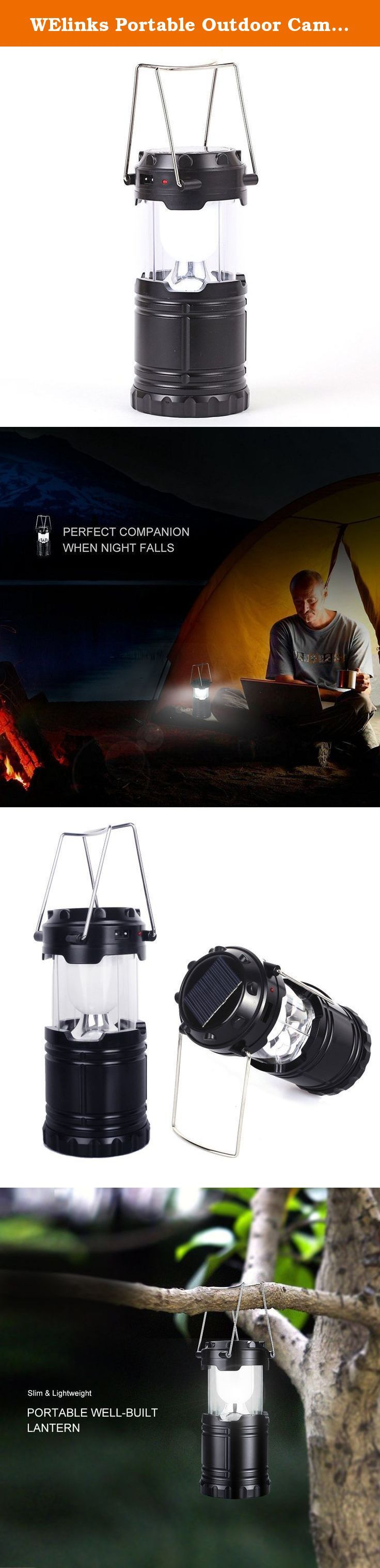 WElinks Portable Outdoor Camping Lanterns/Solar Flashlights/Bright LED Collapsible Water Resistant Rechargeable Camp Lanterns Black. Description: This pretty cool little LED lantern was designed in smooth elegant cylinder shape which represents the attitude towards a simple,fashionable modern lifestyle The lantern is built for both the indoors & outdoors. You can take this portable bright lantern as an emergency light, camping lantern, or just for decoration as you wish Water resistant It…