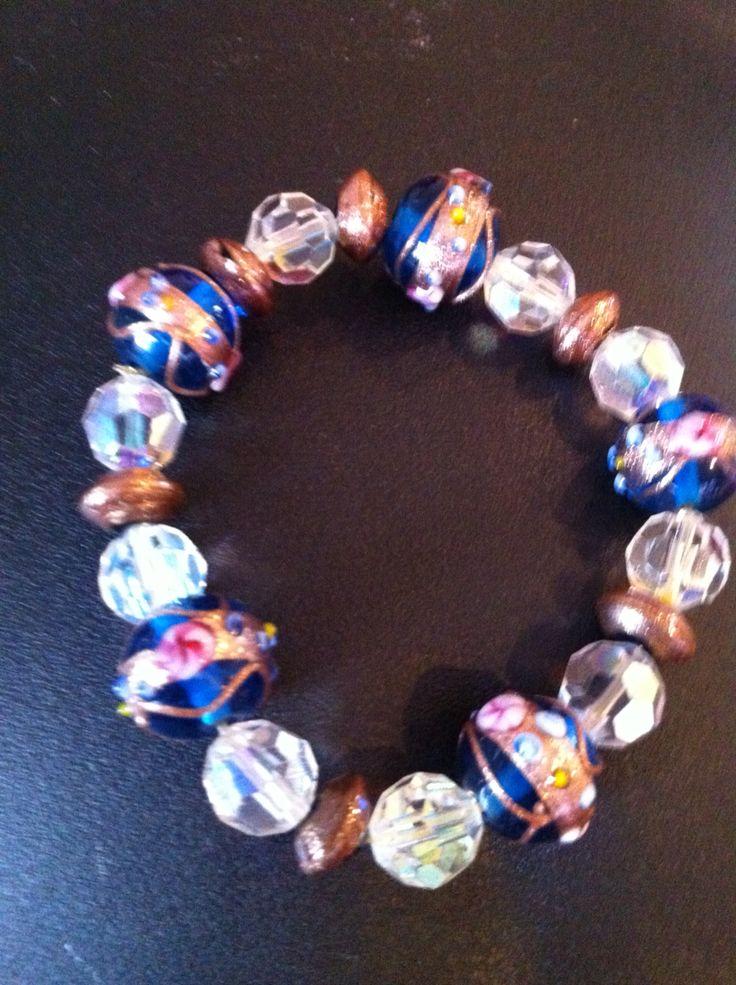 Venetian glass and Swarovski crystal glass beaded stretch bracelet