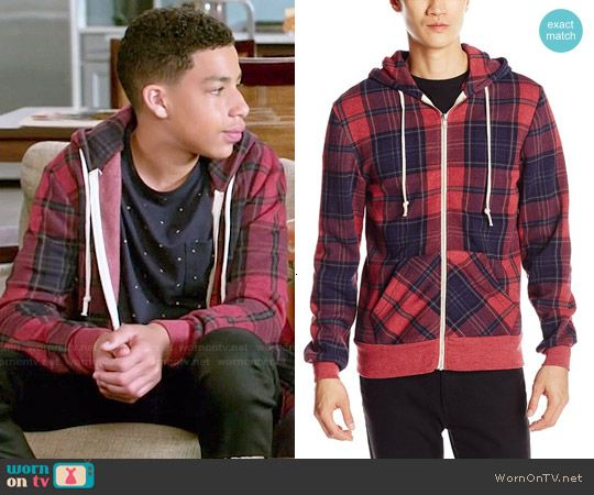 a62b6fee1f Junior s red plaid hoodie on Black-ish in 2019