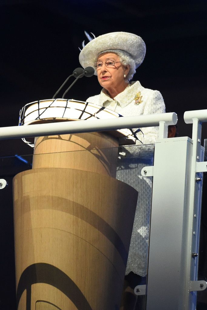 Queen Elizabeth II, Patron of the CGF speaks during the Opening Ceremony for the Glasgow 2014 Commonwealth Games at Celtic Park on July 23, 2014