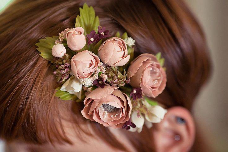 """Купить украшение для волос """"Сладкий ноябрь"""" - разноцветный, венок, заколка, украшение для волос, теплые цвета"""