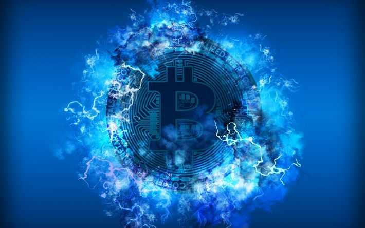 Download Wallpapers 4k Bitcoin Neon Lights Electronic Money Blue Background Crypto Currency Creative Blockchain Blockchain Technology Bitcoin