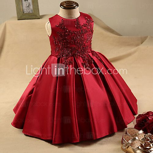 A-line Knee-length Flower Girl Dress - Stretch Satin Sleeveless Jewel with - USD $69.99