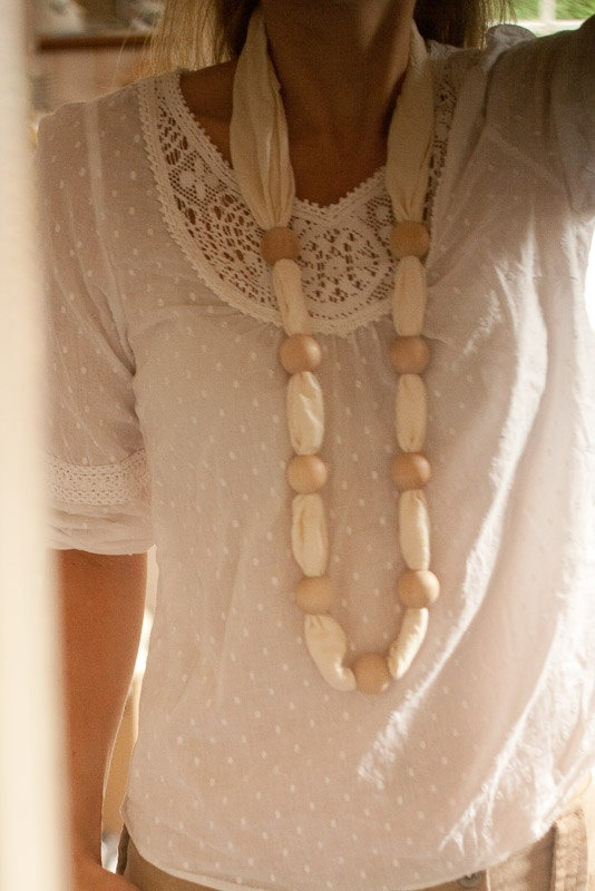 scarf necklace   Love the idea with the beads