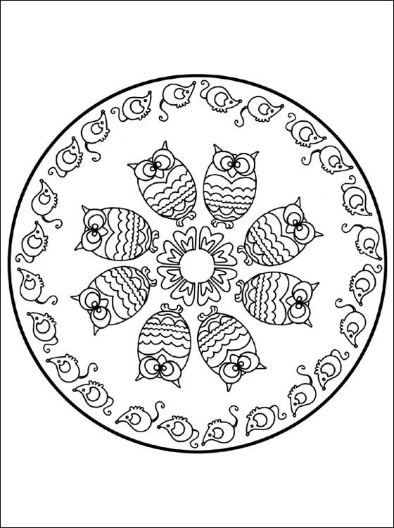 coloring mandalas fruit Mandala coloring page with owl