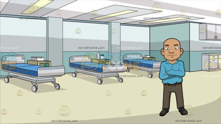 A Bald Guy Standing With His Arms Crossed Over His Chest At Inside A Medical Clinic :  A bald man wearing a light blue collared long sleeved shirt brown belt light brown pants and dark gray shoes smirks while crossing his arms on top of his chest. Set in inside a medical clinic with three rolling hospital beds with blue mattress bed side table light teal walls paneled ceiling and beige flooring.