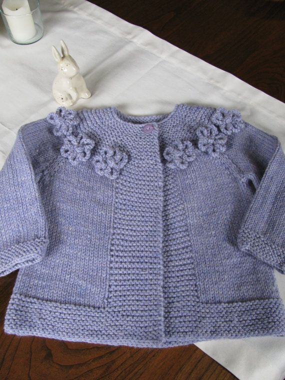 Hand Knit Baby Flower Yoke Sweater by WarmWoolenWishes on Etsy