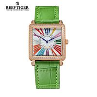 Arrecife Tigre/RT Relojes Señoras de La Manera Reloj de Cuarzo con Diamantes Reloj de Oro Rosa con Marcadores de Números Romanos RGA173