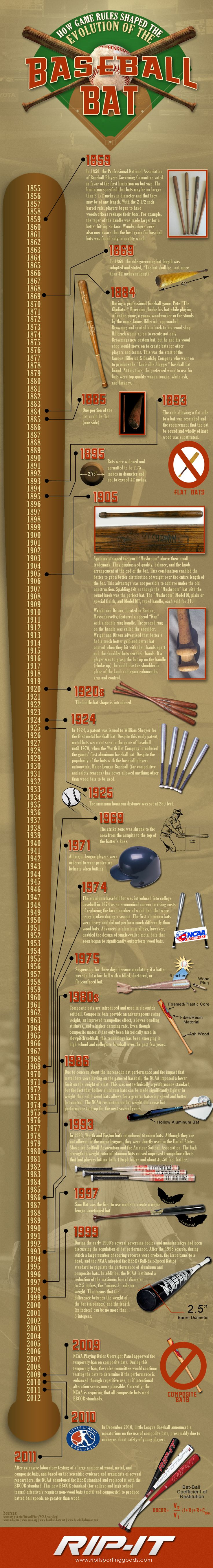 See how the history and technology of the baseball bat has changed over the years in this infographic by RIP-IT Sporting Goods.