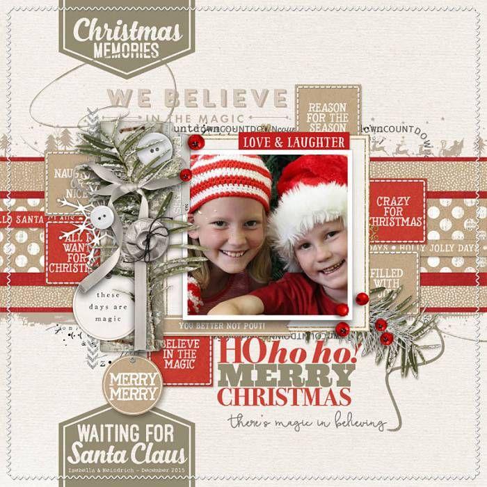 Hohoho Merry Christmas! Adorable Christmas scrapbook page by Liz at designerdigitals