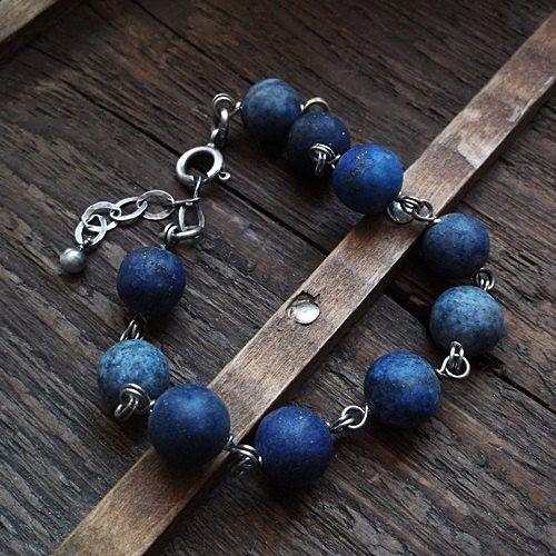 BLUE BRACELET, lapis bracelet, lapis lazuli, sterling silver, beaded bracelet by pieceofmysoulArt on Etsy