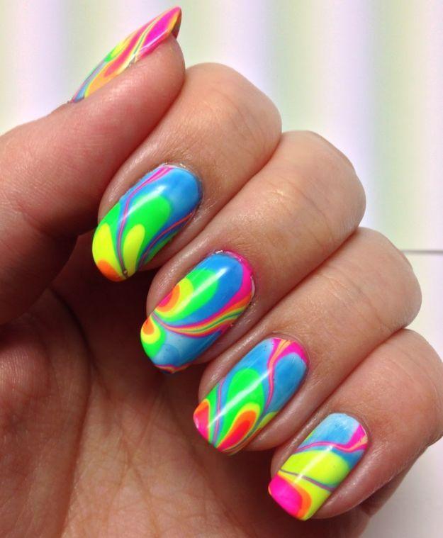 Яркий водный маникюр ::: onelady.ru ::: #nail #nails #nailart #manicure