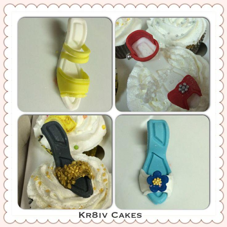 Handmade high heel stiletto cupcakes; red velvet, vanilla & eggless chocolate cupcakes