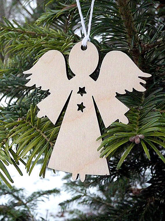 Adornos de Navidad madera madera Angel adorno árbol ornamento Angel decoración colgante Angel adorno regalo para ella él