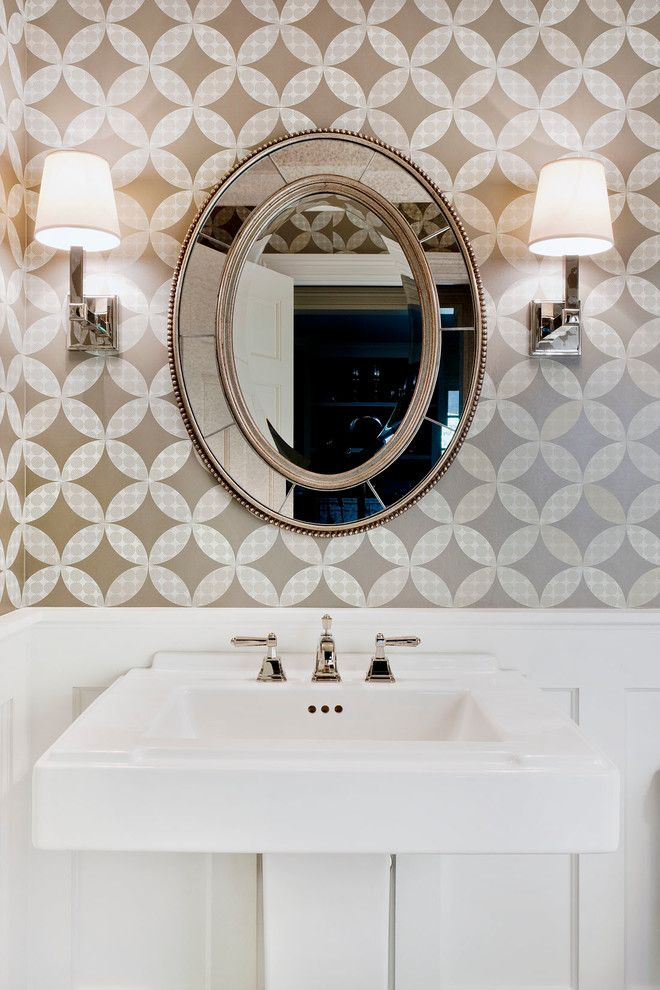 Cool Decorative Oval Mirrors Bathroom Decorating Ideas Gallery in Powder Room Traditional design ...