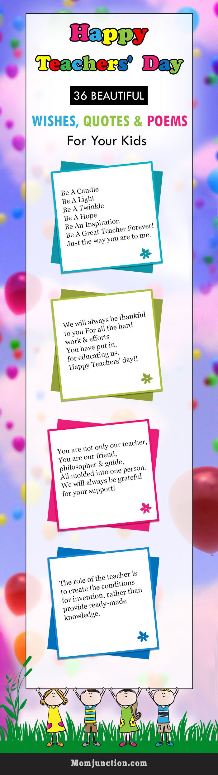 36 Beautiful Teacher's Day Wishes, Quotes & Poems For Your Kids