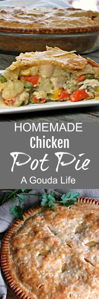 Homemade Chicken Pot Pie ~ prepared pie crust filled with tender chicken, veggies, fresh herbs and a creamy rich sauce. The ultimate comfort food. #chickenrecipes #comfortfood