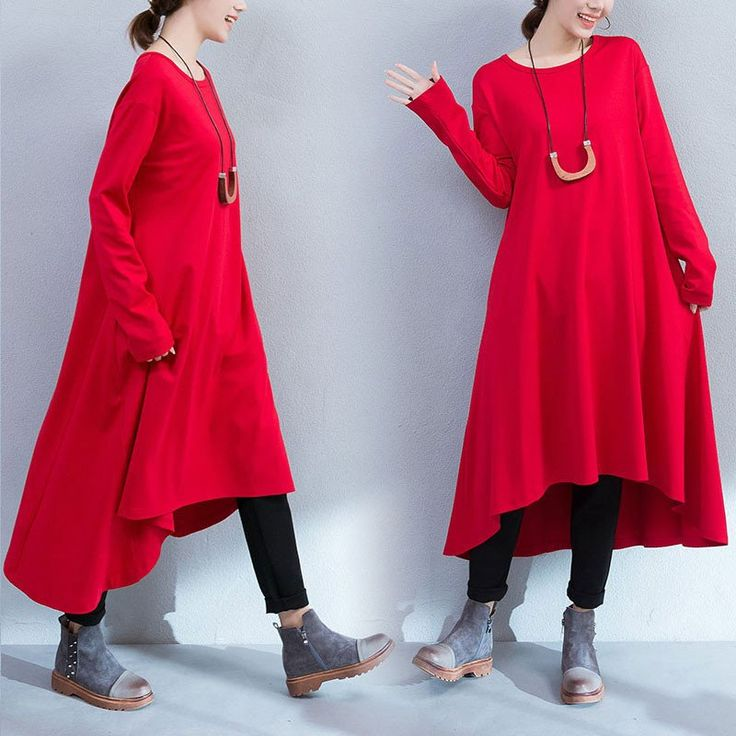 Red Pockets Loose Dress
