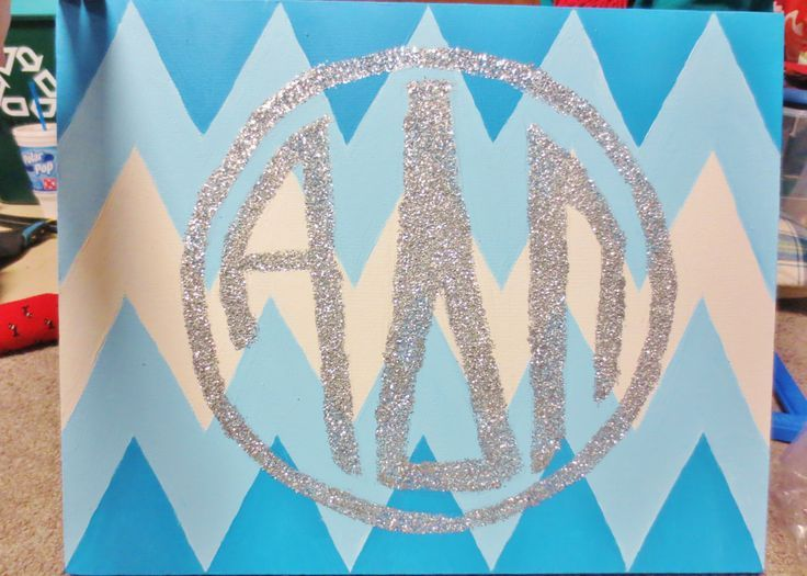 Glitter Monogram Canvas | Alpha Delta Pi glitter monogram chevron canvas i made for a friend ...
