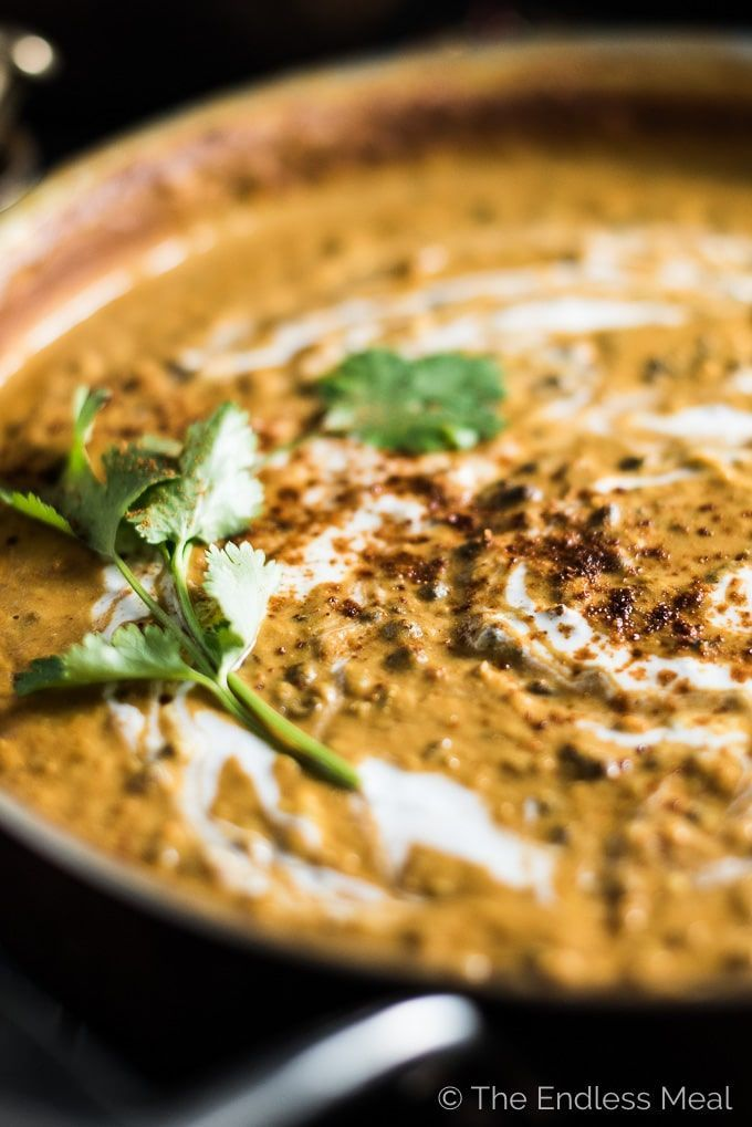 Coconut Black Lentil Curry is a creamy and crazy delicious vegan curry recipe. Using coconut milk instead of heavy cream keeps this buttery dal makhani dairy free without losing any of the richness you crave. | http://theendlessmeal.com
