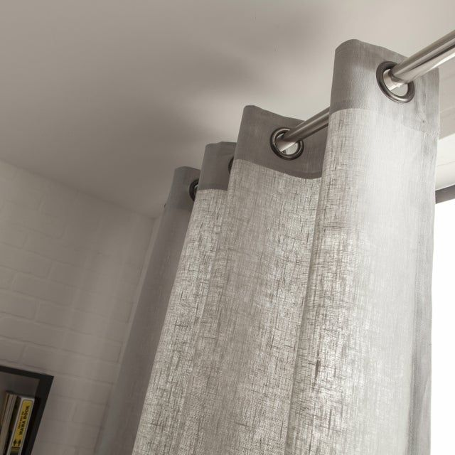 Rideau Tamisant Toile Gris Perle L 135 X H 250 Cm Leroy Merlin In 2020 Bathroom Hooks Window Treatments Curtains