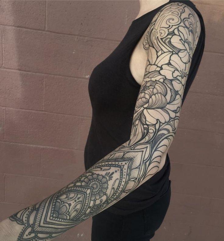Tattoo By Laurajadetattoos Laura: Ornamental Floral Sleeve Line Work By Laura Jade -
