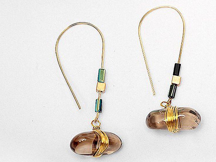 Ohrringe - ETHNO edle echte Rauchquarz Ohrringe Ohrringe gold - ein Designerstück von Kleines-Karma bei DaWanda