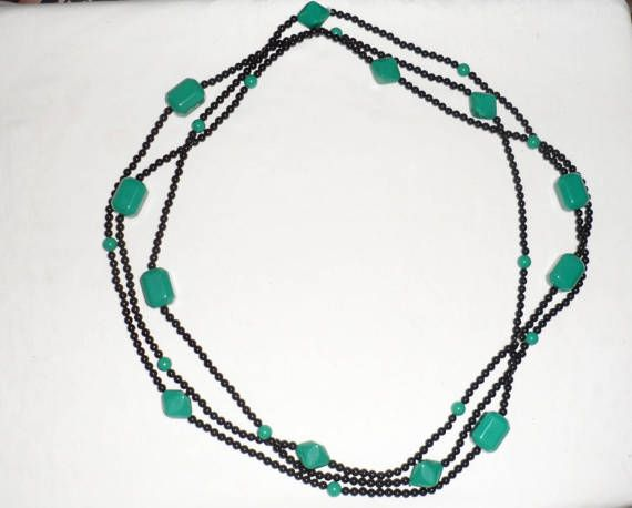 Vintage 18 Inch Beaded Necklace Trio/Trio of Beaded Necklaces/Turquoise Green with Black Beads/Large-Medium N Small Beads/Vintage Jewelry