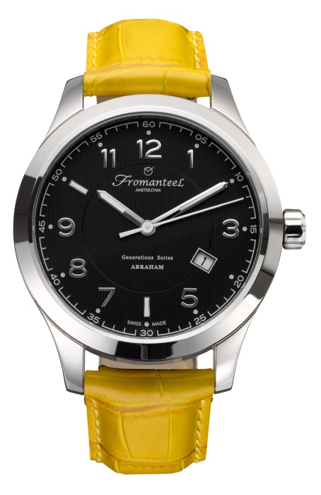 The Abraham Black, yellow leather strap