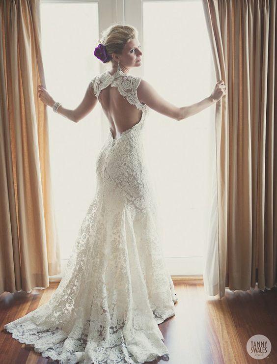 Lace Wedding Dress Open Back Say Yes Dress No <b>back wedding dresses</b>  <b>lace wedding dress open back say</b> ...