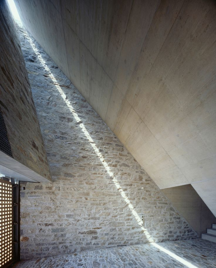 Thin light peeking through Brione House, designed by Wespi de Meuron #architecture