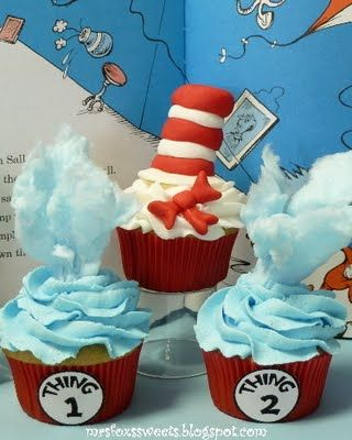 Dr Seuss cupcakes from Mrs Fox's Sweets!