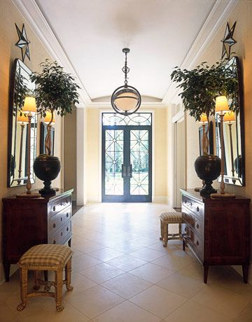 Grand foyer with symmetrical styling!: The Doors, Floors, Mirror Furniture, Lighting Fixtures, Decoration Foyers, House Beauty, Foyers Idea, Foyers Lighting, Antiques