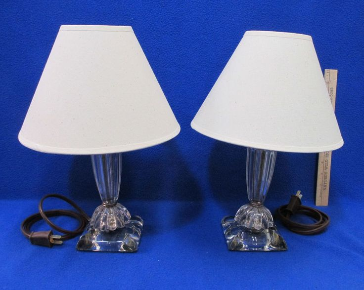 2 Vintage Table Lamps Lights Clear Glass Base w/ Shades Ribbed Electric #Unbranded #Traditional