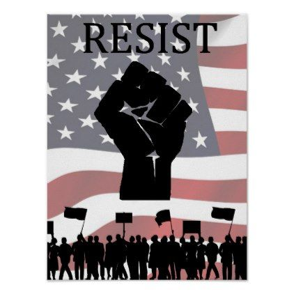 RESIST Fist Anti Donald Trump Poster - black and white gifts unique special b&w style