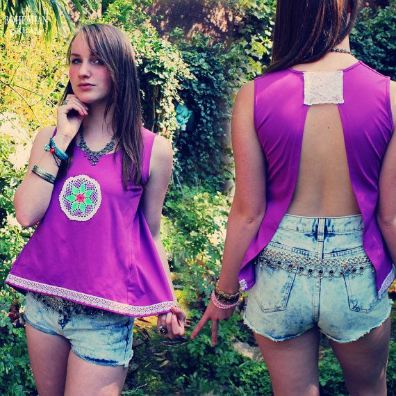 Bohemian Top Split Back Shirt Open Backless Magenta Pink Purple Boho Hippie Women's Upcycled Clothing Recycled Eco Friendly Clothing OOAK