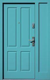 Drzwi zewnętrzne z doświetlem dostawką boczną model  534,6 w kolorze turkusowe