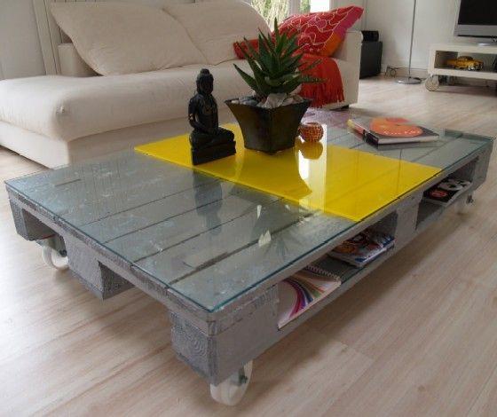 Table basse en palette home pinterest - Table basse palette roulettes ...